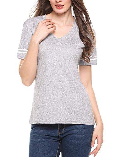 Zeagoo Women's Basic Cotton Football Jersey Short Sleeves Solid V-Neck T-Shirts Gray (Cotton V-neck Football Tee)