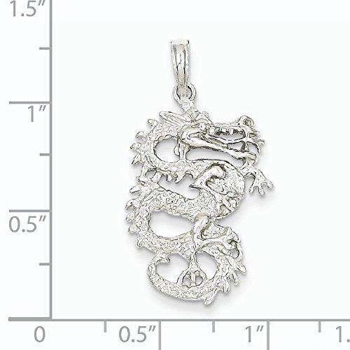 Or blanc 14 carats 3-D Dragon-Dimensions :  32 x 44 mm-JewelryWeb