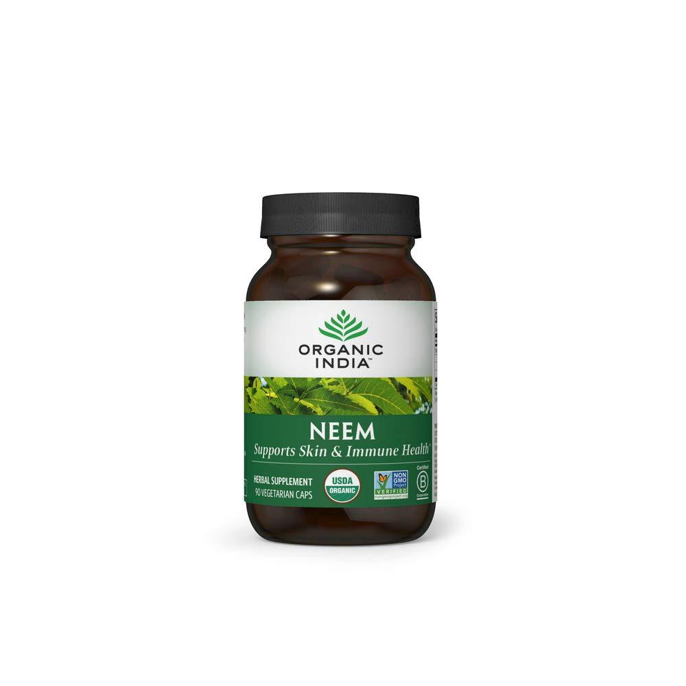 Organic India Neem Herbal Supplement - Supports Skin & Immune Health, Detox, Healthy Inflammatory Response, Vegan, Gluten-Free, USDA Certified Organic, Supports Liver Health - 90 Capsules : Neem Herbal Supplements : Beauty
