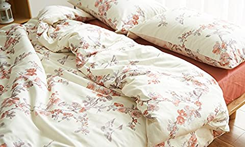 Garden Chinoiserie Floral Duvet Quilt Cover Asian Porcelain Style Tree Blossom and Birds Blue and White Watercolor Pattern 300tc Cotton Percale 3pc Bedding Set (King, Cream Red)