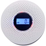 Combination Photoelectric Smoke Detector/Carbon Monoxide Detector for Home, Battery Operated Travel Portable Fire CO Alarm with Sound Warning and Digital Display