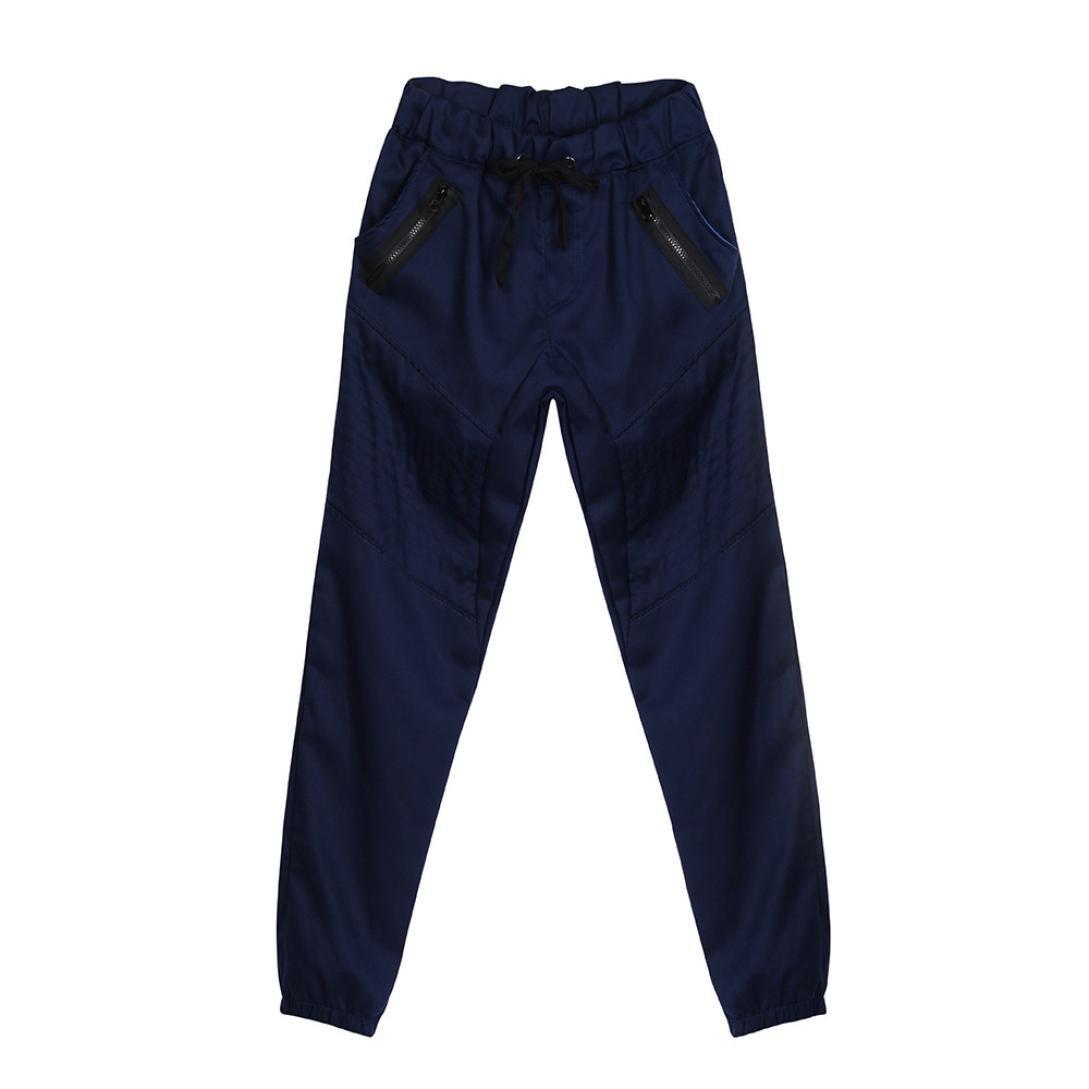 HTHJSCO Men's Basic Fleece Marled Jogger Pant, Men's Sport Jogging Fitness Pant Casual Loose Sweatpants (Navy, XXXL)