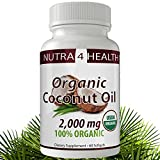 Coconut Oil Softgel Capsules; 100% Extra Virgin, Organic, Cold Pressed Oil 2000mg; Suppress appetite, boost energy, improve skin and hair and many more benefits. (60 Count)