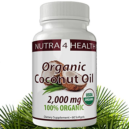 Coconut Oil Softgel Capsules; 100% Extra Virgin, Organic, Cold Pressed Oil 2000mg; Suppress appetite, boost energy, improve skin and hair and many more benefits. (60 Count) by nutra4health LLC