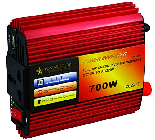 LC-STAR SOLAR 500W 700W Power Inverter DC 12V to 110V AC Car Inverter with 3.1A Dual USB Car Adapter (700w)