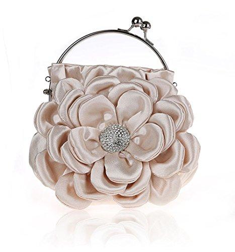 Clutch Bag Apricot - Floral Embellish Women's Satin Pleated Flower Front Evening Bag Clutch Handbag (Apricot)