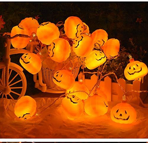 XLANJINGJ Halloween Pumpkin Lights Lanterns,10 LED Battery Powered Pumpkin String Lights 3D Jack O Lantern Halloween Pumpkin Lights Decor for Indoor Outdoor Holiday Party -