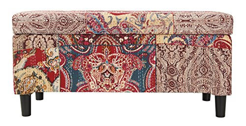 Jennifer Taylor Home Naomi Collection Bohemian Style Cotton Upholstered Hand Tufted Storage Accent Entryway Bench With Festive Paisley Print, Red