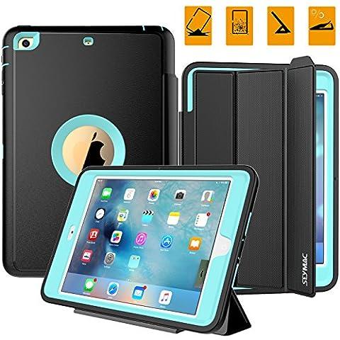 iPad Case, iPad Mini 1 2 3 Case, SEYMAC Three Layer Drop Protection Rugged Protective Heavy Duty iPad Case with Magnetic Smart Auto Wake / Sleep Cover for Apple iPad Mini 1/2/3 (Black/Light (Hard Cases Ipad Mini)