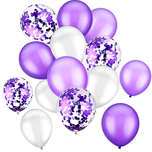 Confetti Latex - 90 Pieces 12 Inch Latex Balloons Party Balloons Confetti Balloons for Birthday Wedding Holiday Party Supplies (White Purple)