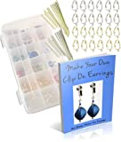 Make Your Own Clip-on Earrings Jewelry Kit-Supplies, Findings w Beads, Unpierced Clips, How-to-Booklet