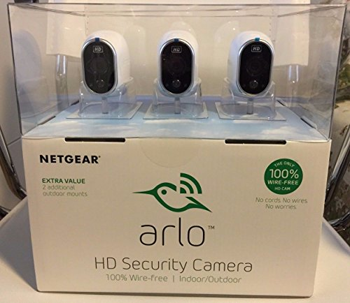 Netgear Arlo Smart Home Security System w/ 3 HD Wire-Free Cameras &...