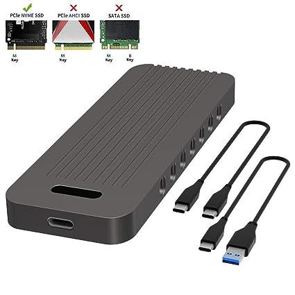 QNINE NVME SSD Enclosure, PCIe NVME M 2 to USB C Enclosure, Based on JMS583  USB 3 1 Gen 2 (10 Gbps) to PCIe Gen 3 x2 Bridge Chip, Included 2 USB