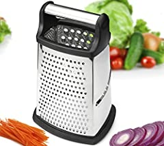 4 in 1 Box Grater: 4 unique sides to accomplish all of your prepping tasks quickly and efficiently, with less effort! What Makes Our Grater Better: * NEW XL SIZE: Grate more quantity and more efficiently with our NEW XL Size Professional Grat...