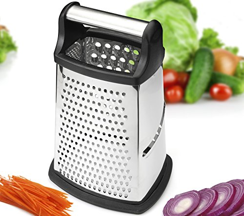 Professional Box Grater, Stainless Steel with 4 Sides, Best for Parmesan Cheese, Vegetables, Ginger, XL Size ()