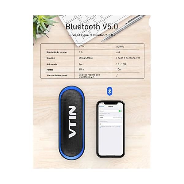 Enceinte Portable Bluetooth 5.0, VTIN R4 Haut Parleur Bluetooth 12W, Enciente Waterproof, 24H de Lecture, avec Microphone, Support AUX/TF, pour Téléphone Portable, Tablette, Soirée, Voyage 3