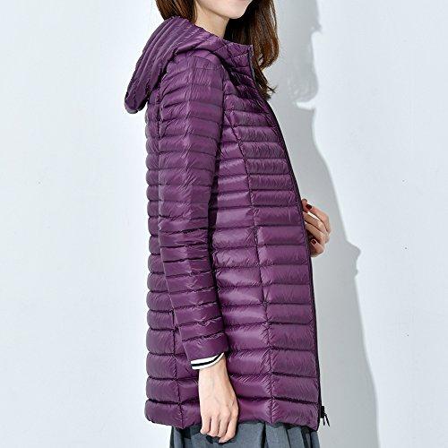 Donna Leggero Casual Cappuccio Bmeigo Giacca Piumino Long Medium Purple Ultra Giacche Cappotto Con dHqdw5vt