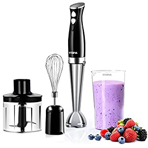 "Premium Hand Blender with 8"" Removable Blending Arm - 2 Touch Speed Adjustable - Soft and Non-Slip Handle - by Utopia Home"