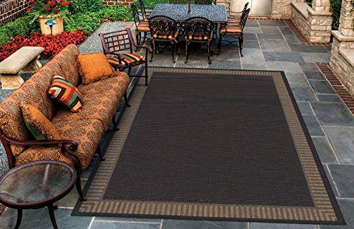 Cocoa Black Area Rug - Couristan 1681/2000 Recife Wicker Stitch/Black-Cocoa 7'6