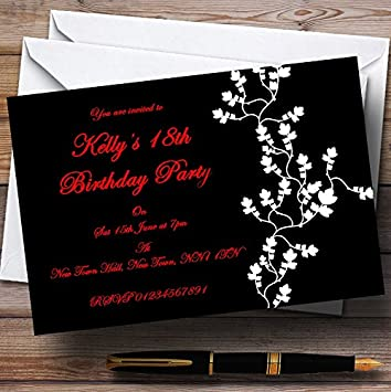 amazon com 10 x black white red customized party invites party