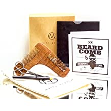 Ultimate Urban Men's Wooden Beard Shaping Tool Kit Gift Set - Elite Facial Hair Grooming, Shaving & Styling Accessory For Symmetry & Precision, Premium Sandalwood, BONUS Leather Pocket, Pencil, Scissors & Bag