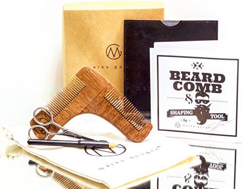 Beard Comb Kit - Elite Facial Hair Grooming, Shaving & Styling Accessory For Symmetry & Precision, Premium Sandalwood, BONUS Leather Pocket, Pencil, Scissors & (Thin Facial Hair Beard)