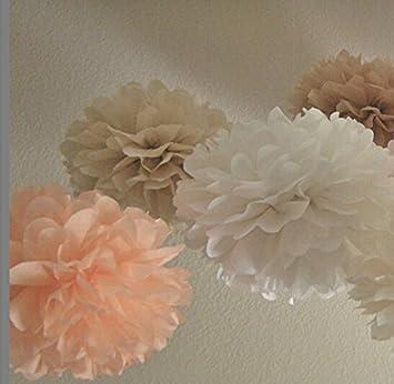 Amazon Sorive12pcs White Peach Tan Tissue Paper Pom Poms