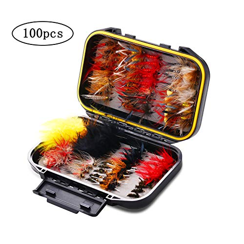 Fiscan Fly Fishing Flies Kit, Fly Fishing Lures, 100pcs/Box Fly Fishing Flies,Handmade Fly Fishing Sets- Dry/Wet Flies,Streamer, Nymph, Emerger with Waterproof Fly Box ()