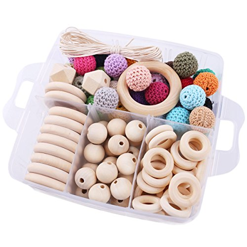 Baby Love Home 1 Set Wood Nursing Jewelry Wooden Teether DIY Teething Necklace Kit Combination Package Crochet Wooden Beads Wooden Beads Wood Ring Creative Freedom