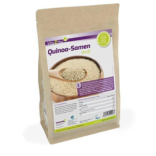 Quinoa Samen Weiß - 1kg Zippbeutel - Rohkost Qualität - 1er Pack (1000g) - geprüft und abgefüllt in Germany
