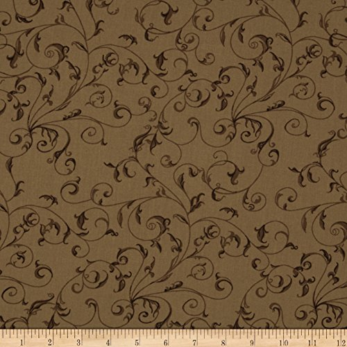 110in Wide Quilt Backing Filigree Brown Fabric By The Yard