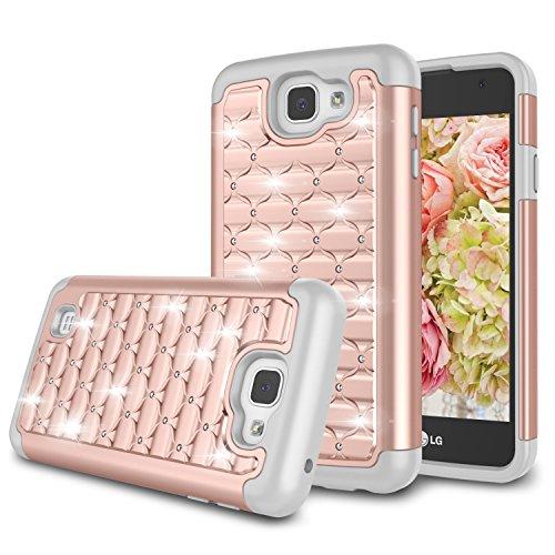Zectoo for LG K4 Case, LG K4 Rebel LTE/LG Optimus Zone 3 Case, Hybrid Heavy Duty Shockproof Diamond Studded Bling Rhinestone Case Dual Layer [Hard PC+ Soft Silicone] Protection Case -