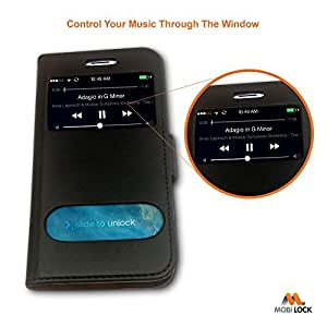 Apple iPhone 6 / 6S Black PU Leather Slim Executive Flip Case / Cover Case - by Mobi Lock