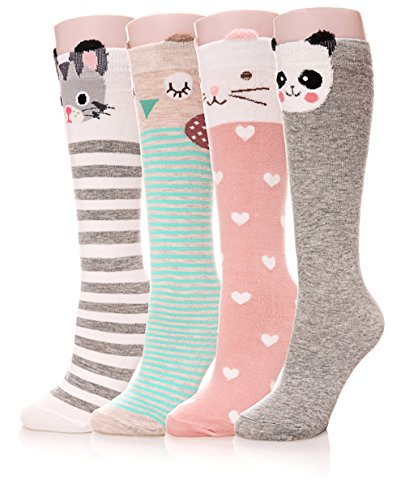 Color City Girls Socks Knee High Stockings Cartoon Animal Warm Cotton Socks