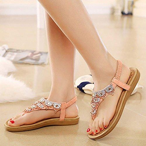 YOUJIA Mujer Sandalias Bohemia Con Rhinestones Zapatos De Cuña 35-40 Rosa