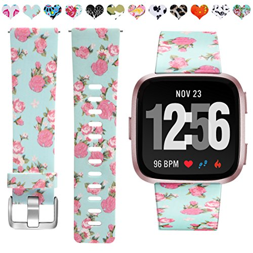 Maledan Compatible with Fitbit Versa Bands, Pink Floral, Small