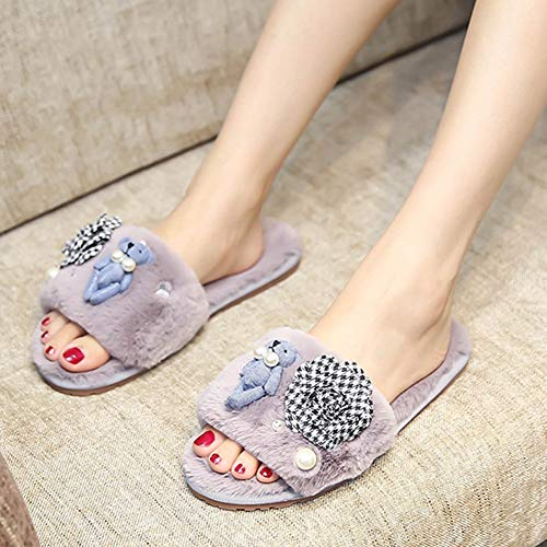 Fur Grey Winter Home Bear Sandals Cute Pearl Women's Plaid Flops Shoes Flip Fashion Camellia Slippers Ladies qHOxnEwZS