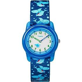 Timex Boys TW7C13500 Time Machines Analog Blue Sharks Elastic Fabric Strap Watch