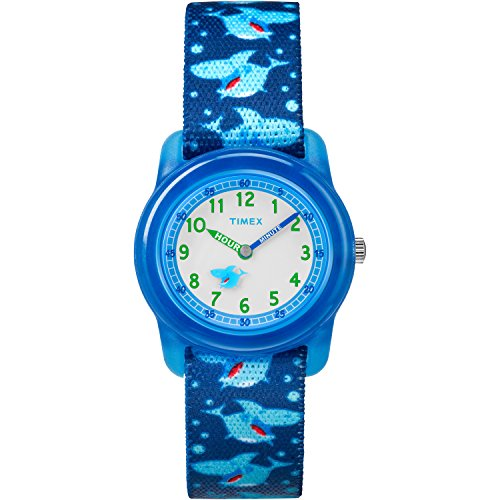 Timex Boys TW7C13500 Time Machines Blue Sharks Elastic Fabric Strap Watch ()