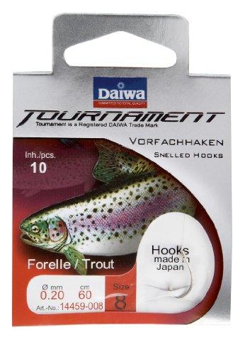 Angelhaken Forelle Daiwa Tournament mit 60 cm Vorfach Gr. 6 - 10 Stk.-Packung