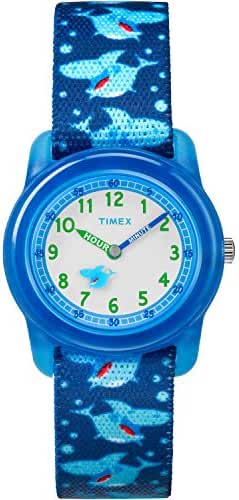 Timex Boys TW7C13500 Time Machines Analog Blue Sharks Elastic Fabric Strap Watch