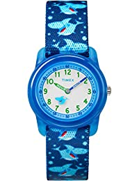 Boys TW7C13500 Time Machines Analog Blue Sharks Elastic Fabric Strap Watch