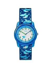 Timex Boys tiempo máquinas Reloj de correa de tela elástica analógico, Tiburones azules