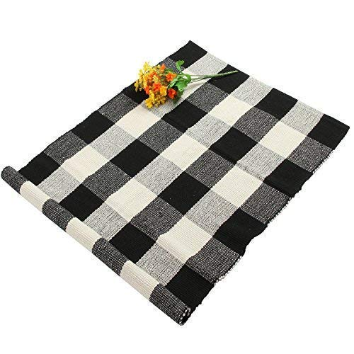 Homcomoda Buffalo Checkered Kitchen Runner Rug Cotton Plaid Area Floor Rug for Living Room Bedroom-24 by 35(Plaid Black and White)