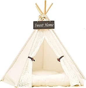 DEWEL Pet Teepee Dog & Cat Bed Portable Washable Dog Tent Lace Style Pet Sweet House for Dog Cat Pet (Without Cushion)