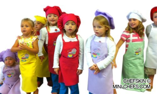 CHEFSKIN LOT of 25 Children Aprons,wholesale Set Small Fits Kids 2-8 (Send Assorted Colors (2 of Each)) by CHEFSKIN