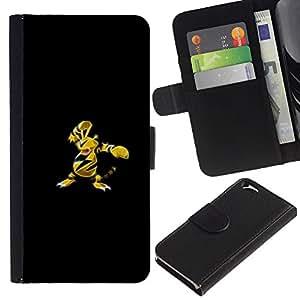 LECELL--Cuero de la tarjeta la carpeta del tirón Smartphone Slots Protección Holder For Apple Iphone 6 -- Electabuzz P0kemon --