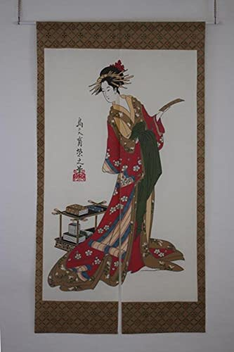 Made in Japan Noren Curtain Tapestry Tanzaku and Woman