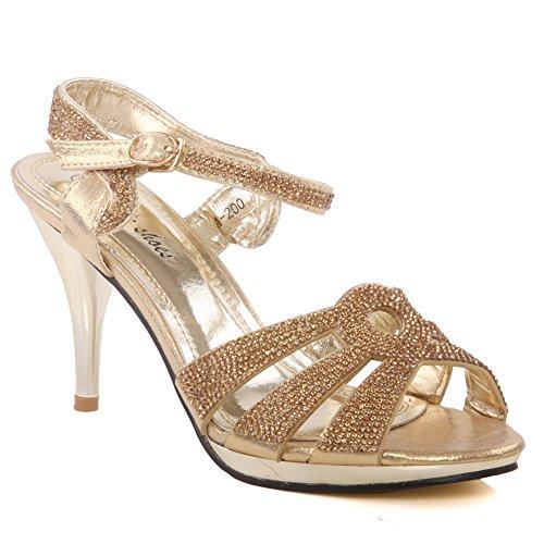 Unze Womens 'Luice' cristales acentuados sandalias de la boda Reino Unido tamaño 3-8 Gold