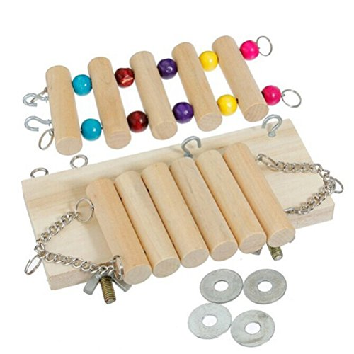 Amazon.com : UEETEK A Set of Ladder Pet Bird Toy Natural Wooden Swing Bridge for Parrot Cat : Pet Supplies